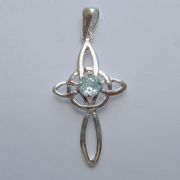 Sterling Silver Blue Topaz Set Cross Pendant